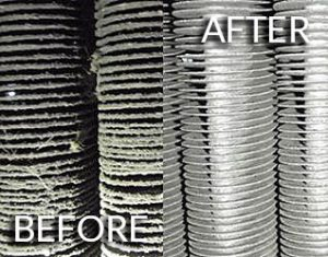 Before and after a Fin Fan cleaning